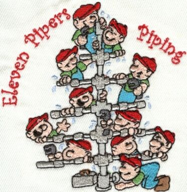 12 Mooseberry Days of Christmas Machine Embroidery Designs