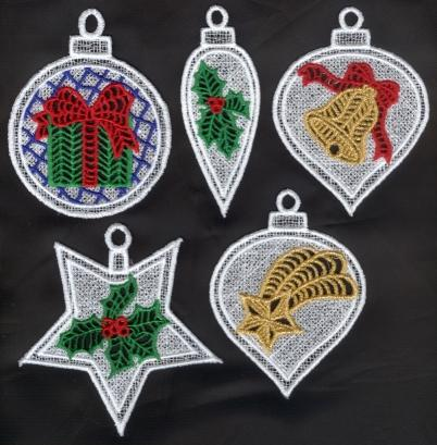 Free Standing Lace Christmas Ornaments Machine Embroidery