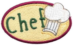 Chef Oval Embroidery Design