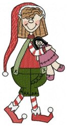 Christmas Elf with Doll