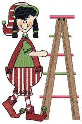 Christmas Elf with Ladder