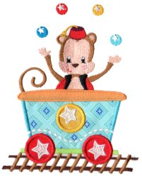 Circus Monkey Car Applique