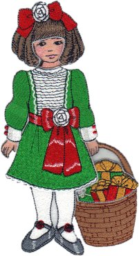 Clara Embroidered Paper Doll in Christmas Dress