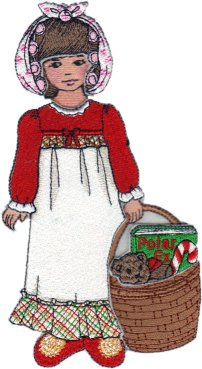 Clara Embroidered Paper Doll in Christmas Nightie