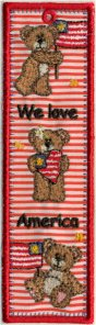 Love America Free Standing Applique Bookmark