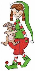 Christmas Elf with Bunny