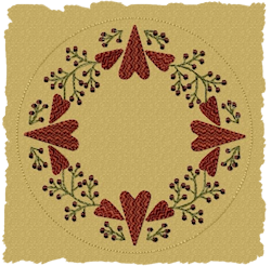 Berry Heart Candle Mat Patterned Fill Version