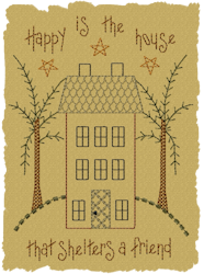 Happy Is The House Primitive Motif Design