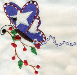 Red White Blue Butterfly with Sprig 1