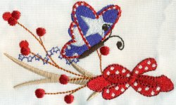Red White Blue Butterfly with Sprig 2