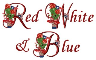 Red White & Blue Machine Embroidery Designs & Alphabet