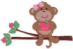 School Monkey Girl on Branch
